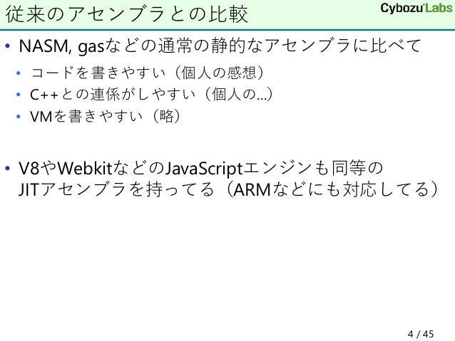 • NASM, gasなどの通常の静的なアセンブラに比べて • コードを書きやすい(個人の感想) • C++との連係がしやすい(個人の...) • VMを書きやすい(略) • V8やWebkitなどのJavaScriptエンジンも同等の JIT...