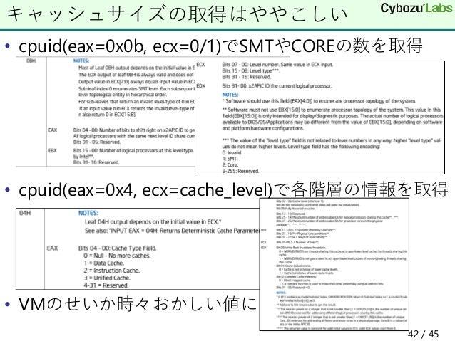 • cpuid(eax=0x0b, ecx=0/1)でSMTやCOREの数を取得 • cpuid(eax=0x4, ecx=cache_level)で各階層の情報を取得 • VMのせいか時々おかしい値に キャッシュサイズの取得はややこしい 42...