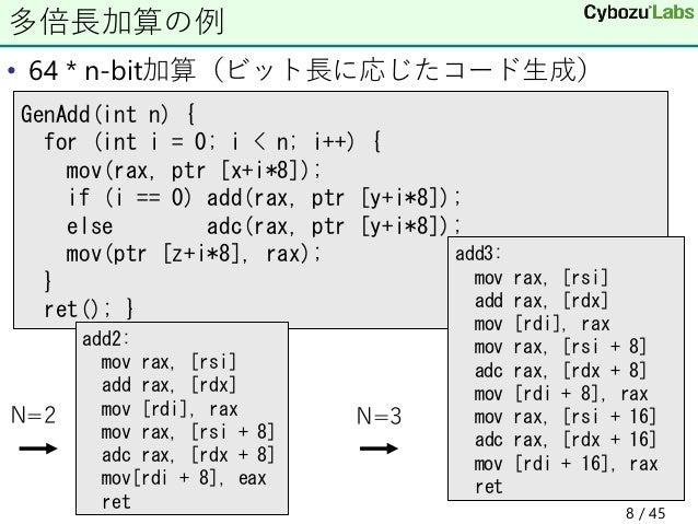 • 64 * n-bit加算(ビット長に応じたコード生成) 多倍長加算の例 GenAdd(int n) { for (int i = 0; i < n; i++) { mov(rax, ptr [x+i*8]); if (i == 0) add...
