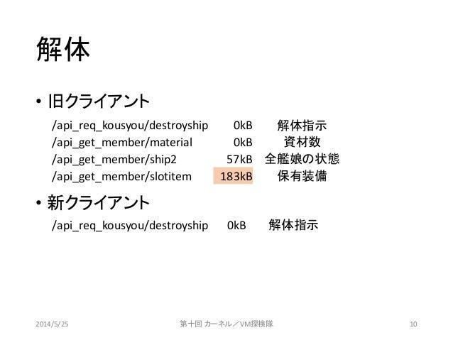 • 旧クライアント • 新クライアント 解体 2014/5/25 第十回 カーネル/VM探検隊 10 /api_req_kousyou/destroyship 0kB 解体指示 /api_get_member/material 0kB 資材数 ...