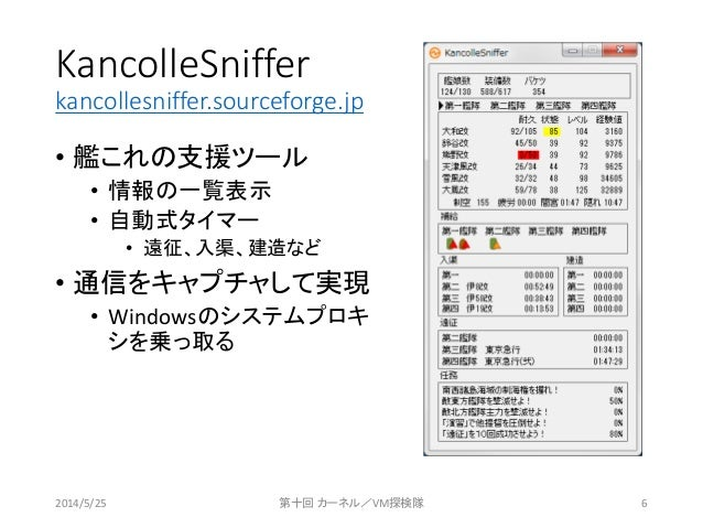 KancolleSniffer kancollesniffer.sourceforge.jp • 艦これの支援ツール • 情報の一覧表示 • 自動式タイマー • 遠征、入渠、建造など • 通信をキャプチャして実現 • Windowsのシステムプ...