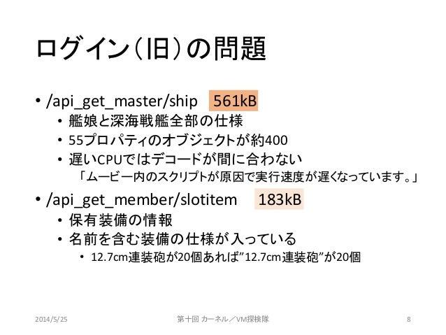 ログイン(旧)の問題 • /api_get_master/ship 561kB • 艦娘と深海戦艦全部の仕様 • 55プロパティのオブジェクトが約400 • 遅いCPUではデコードが間に合わない 「ムービー内のスクリプトが原因で実行速度が遅くな...
