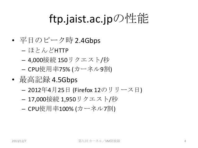ftp.jaist.ac.jpの性能 • 平日のピーク時 2.4Gbps – ほとんどHTTP – 4,000接続 150リクエスト/秒 – CPU使用率75% (カーネル9割)  • 最高記録 4.5Gbps – 2012年4月25日 (Fi...