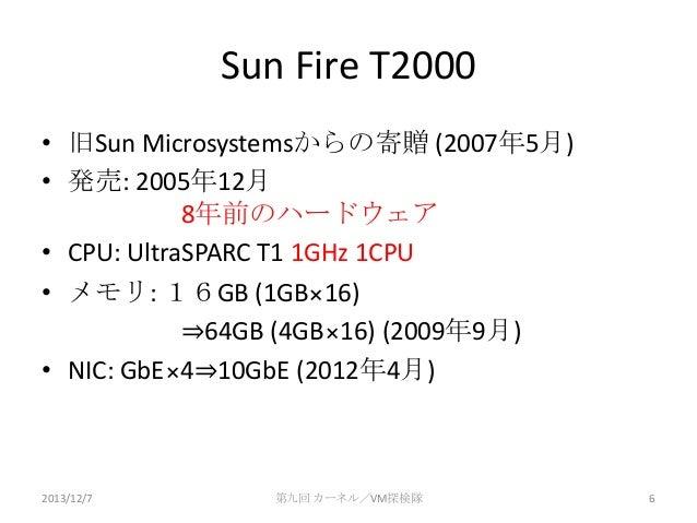 Sun Fire T2000 • 旧Sun Microsystemsからの寄贈 (2007年5月) • 発売: 2005年12月 8年前のハードウェア • CPU: UltraSPARC T1 1GHz 1CPU • メモリ: 16GB (1G...