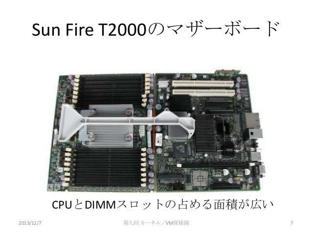 Sun Fire T2000のマザーボード  CPUとDIMMスロットの占める面積が広い 2013/12/7  第九回 カーネル/VM探検隊  7