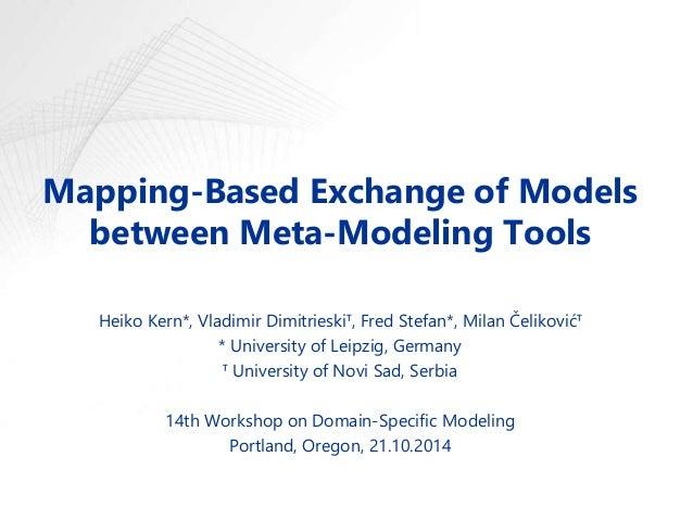 Mapping-Based Exchange of Models between Meta-Modeling Tools Heiko Kern*, Vladimir Dimitrieskiᵀ, Fred Stefan*, Milan Čelik...