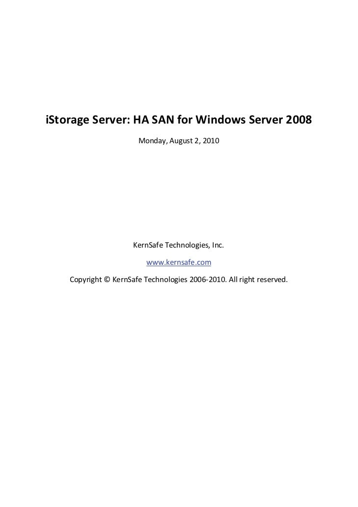 iStorage Server: HA SAN for Windows Server 2008                             ...