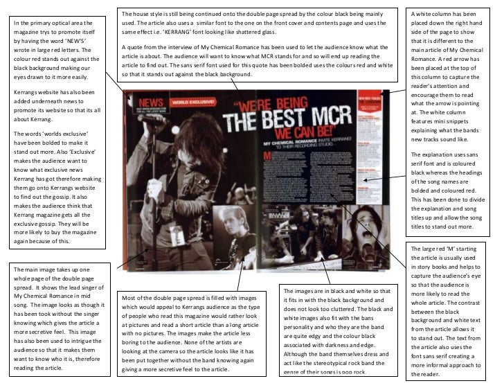 The house style is still being continued onto the double page spread by the colour black being mainly         A white colu...