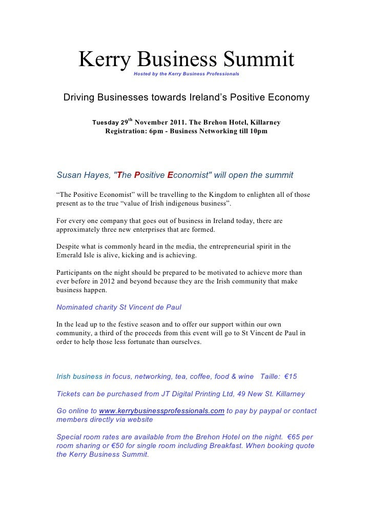 Kerry Business SummitHosted by the Kerry Business Professionals  Driving Businesses towards Ireland's Positive Economy    ...