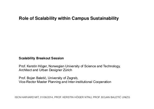 Role of Scalability within Campus Sustainability Scalability Breakout Session Prof. Kerstin Höger, Norwegian University of...