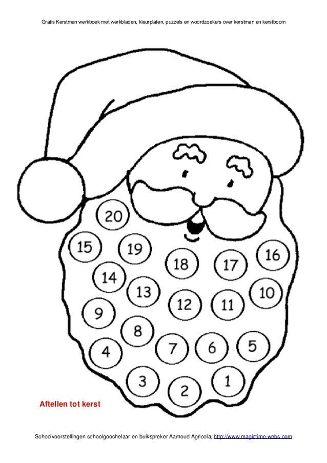 kerstman werkboek met werkbladen schoolgoochelaar