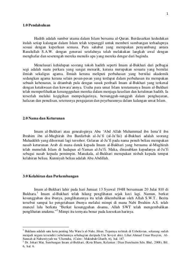 1 1.0 Pendahuluan Hadith adalah sumber utama dalam Islam bersama al-Quran. Berdasarkan kedudukan itulah setiap kalangan da...