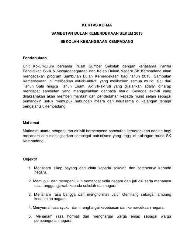 Kertas Kerja Bulan Kemerdekaan 2013
