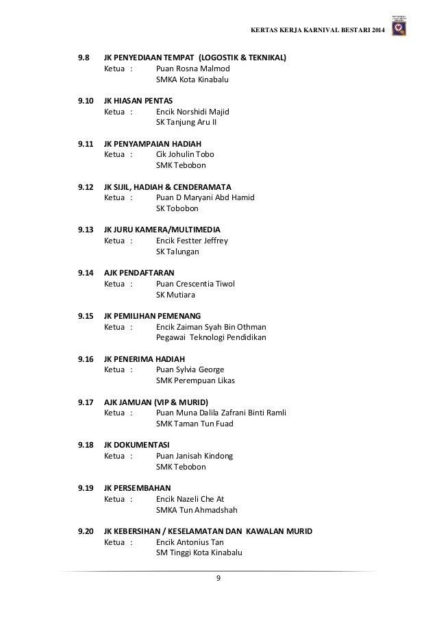 KERTAS KERJA KARNIVAL BESTARI 2014 9 9.8 JK PENYEDIAAN TEMPAT (LOGOSTIK & TEKNIKAL) Ketua : Puan Rosna Malmod SMKA Kota Ki...