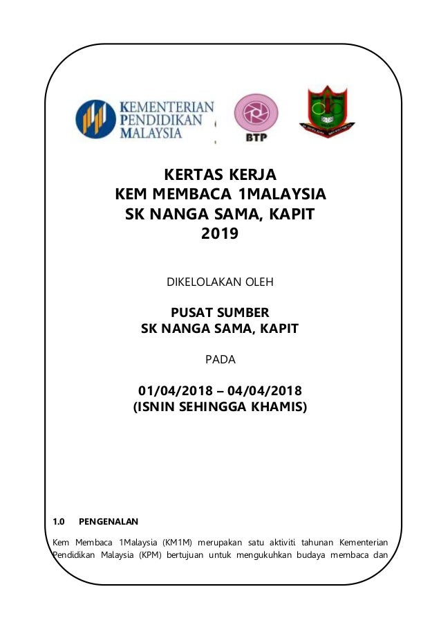 Kertas Kerja Kem Membaca 1 Malaysia 2019
