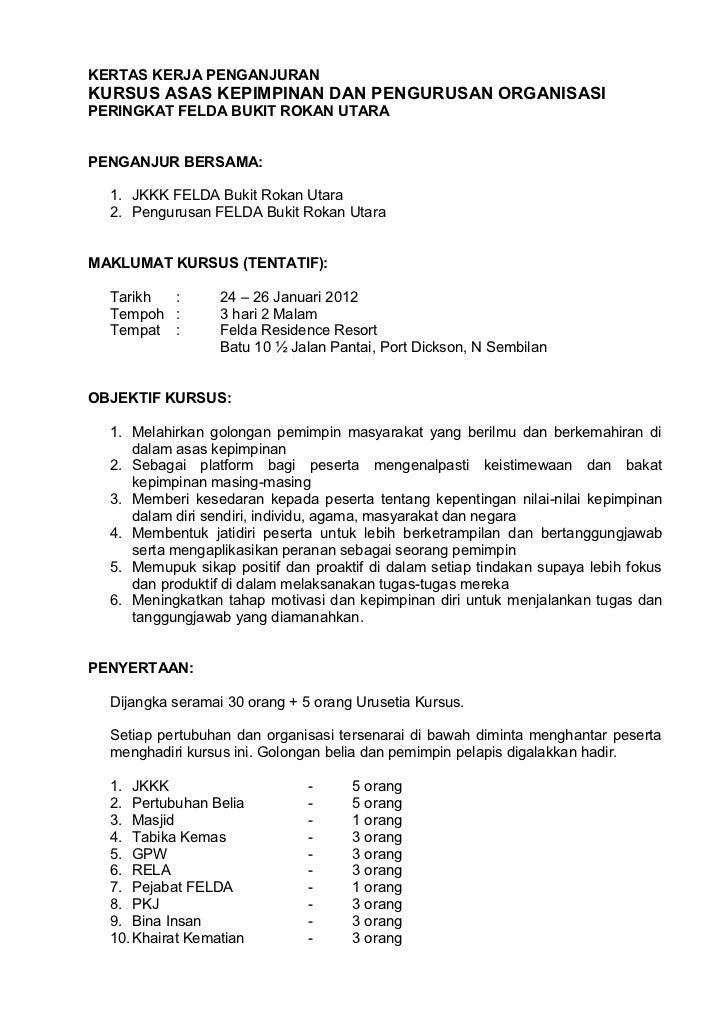 Kertas Kerja Kursus Kepimpinan Fbru 2012