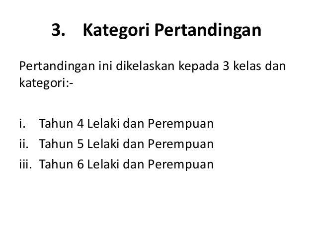 3. Kategori PertandinganPertandingan ini dikelaskan kepada 3 kelas dankategori:-i. Tahun 4 Lelaki dan Perempuanii. Tahun 5...