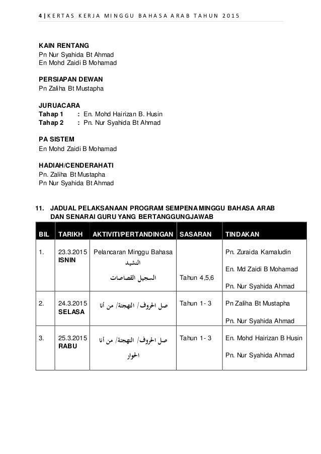 Kertas Kerja Minggu Bahasa Arab