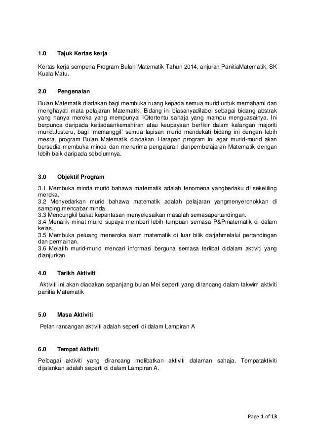 Kertas Kerja Panitia Matematik Skkm 2014