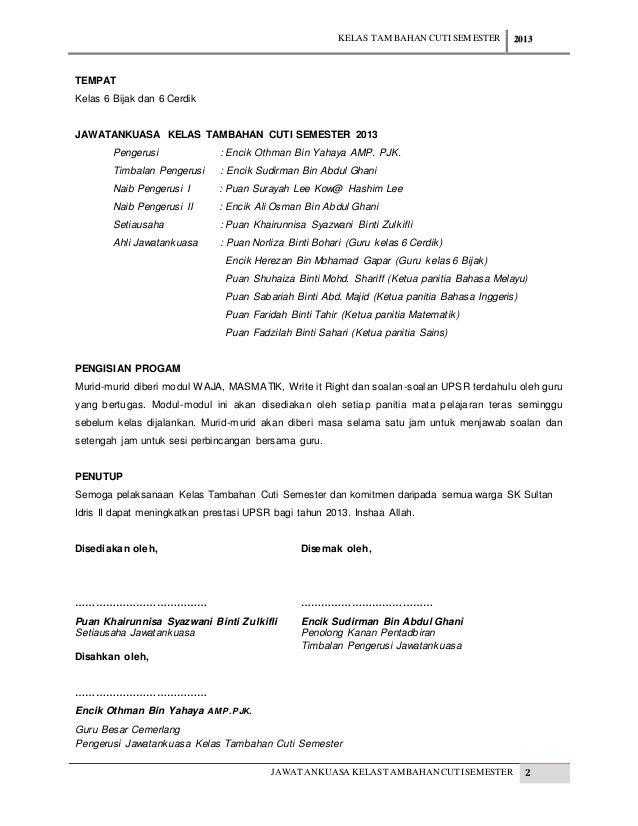 Kertas Kerja Program Kelas Tambahan Cuti Semester 2013