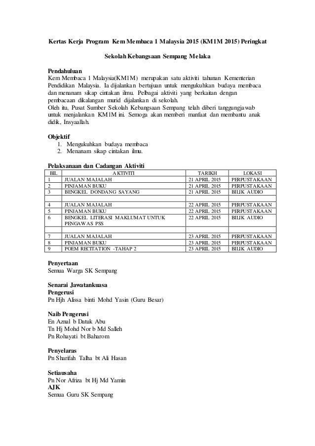 Kertas Kerja Program Kem Membaca 1 Malaysia 2015