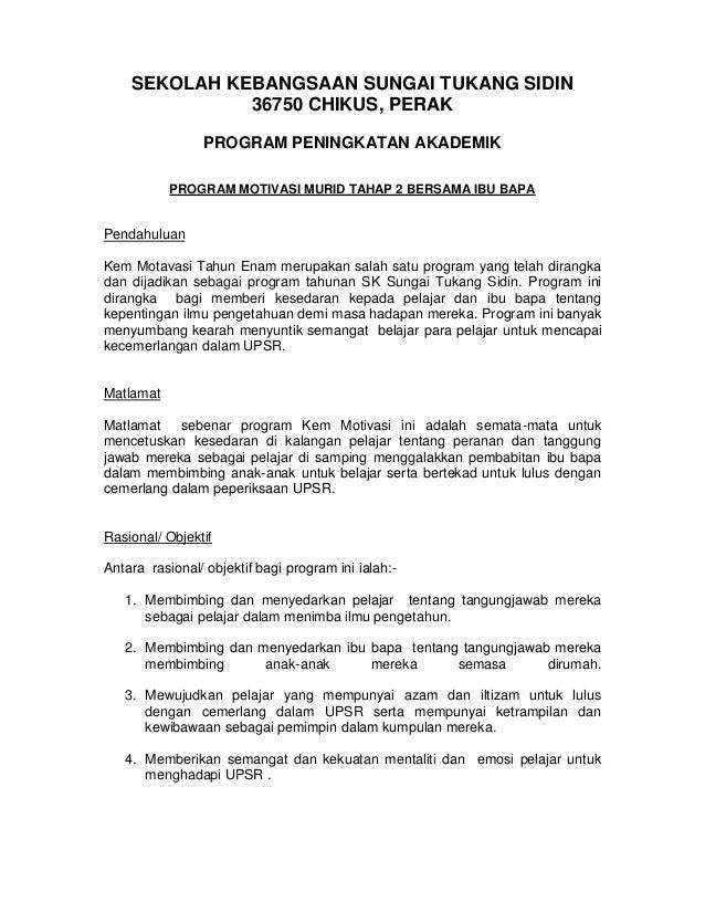 Kertas Kerja Program Motivasi Tahap 2