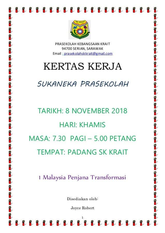 Kertas Kerja Sukaneka Prasekolah 2018