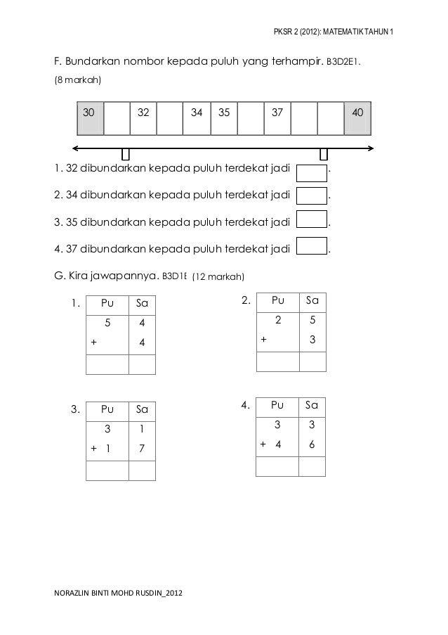 Kertas PKSR 2 Matematik Tahun 1 2012