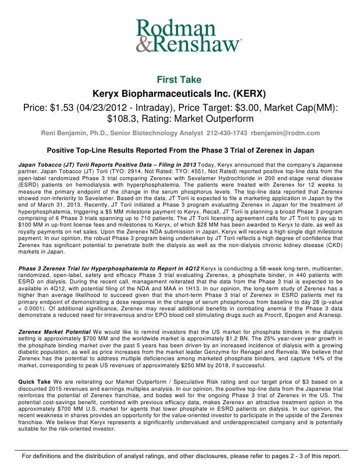 ®                                 First Take                  Keryx Biopharmaceuticals Inc. (KERX) Price: $1.53 (04/23/201...
