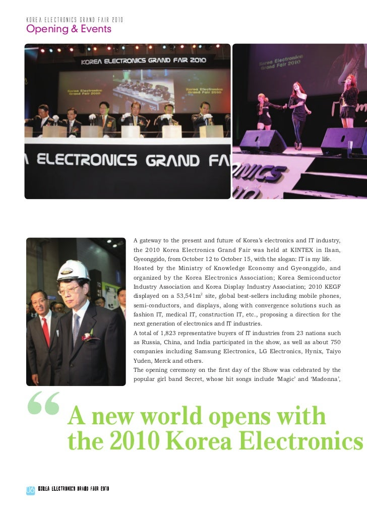 korea electronics grand fair 2010Opening & Events                                         A gateway to the present and fut...