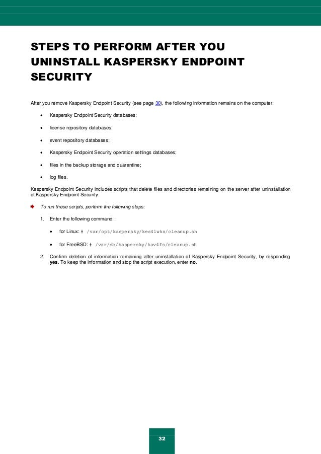 32 STEPS TO PERFORM AFTER YOU UNINSTALL KASPERSKY ENDPOINT SECURITY After you remove Kaspersky Endpoint Security (see page...