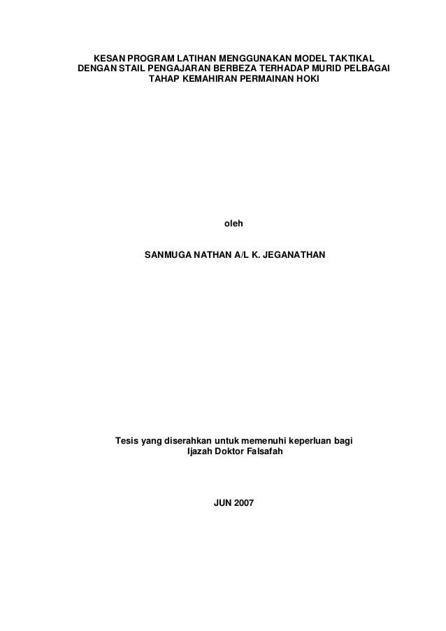 KESAN PROGRAM LATIHAN MENGGUNAKAN MODEL TAKTIKAL DENGAN STAIL PENGAJARAN BERBEZA TERHADAP MURID PELBAGAI TAHAP KEMAHIRAN P...