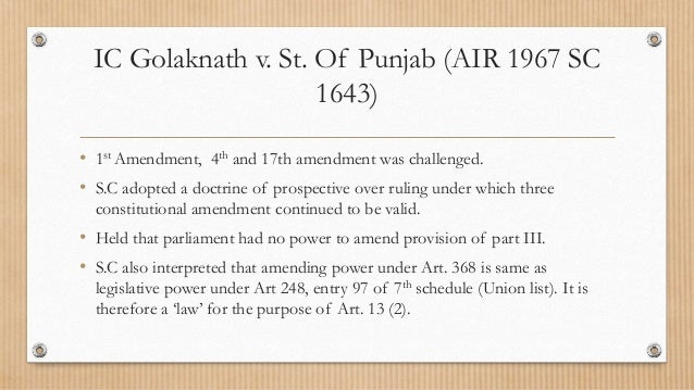 sajjan singh v state of rajasthan 2) sajjan singh v state of rajasthan (1965) the validity of the 17th amendment  act, 1964 (which changed the definition of an estate given in article 31a of the.