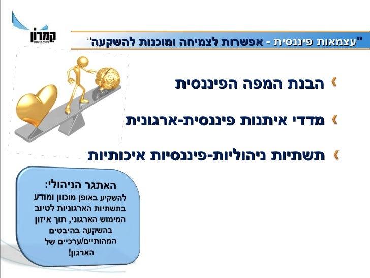 עצמאות פיננסית בארגוני המגזר השלישי Slide 3