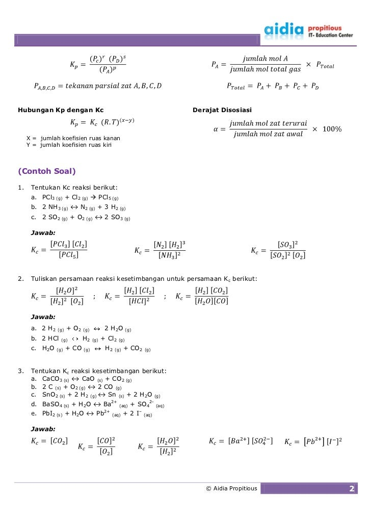 Hubungan Kp dengan Kc                                                     Derajat Disosiasi         X = jumlah koefisien r...