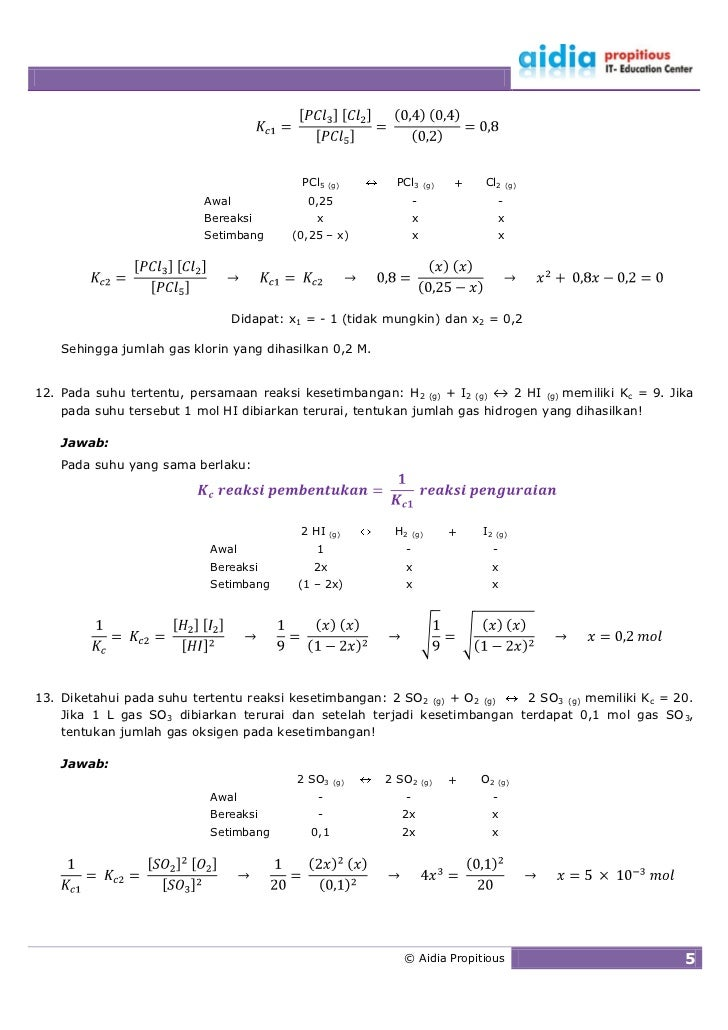 PCl5   (g)     PCl3      (g)   +   Cl2          (g)                            Awal               0,25                -   ...