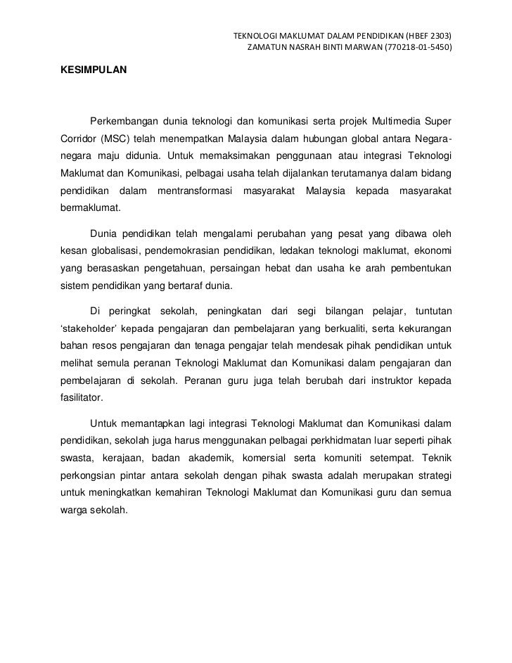 TEKNOLOGI MAKLUMAT DALAM PENDIDIKAN (HBEF 2303)                                            ZAMATUN NASRAH BINTI MARWAN (77...