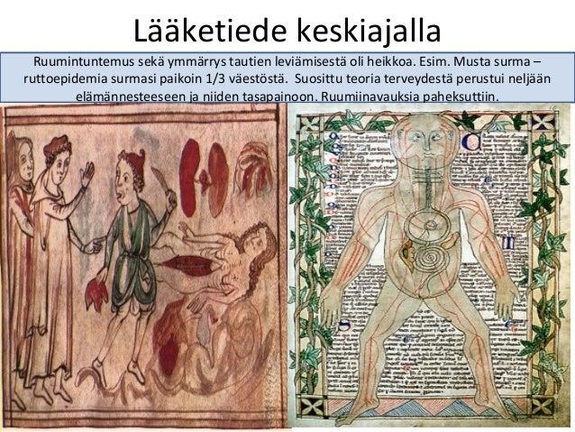 Lääketiede keskiajalla Ruumintuntemus sekä ymmärrys tautien leviämisestä oli heikkoa. Esim. Musta surma – ruttoepidemia su...
