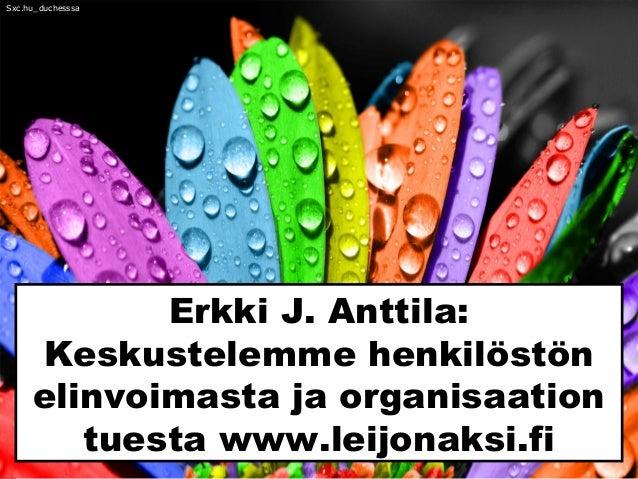 Erkki J. Anttila: Keskustelemme henkilöstön elinvoimasta ja organisaation tuesta www.leijonaksi.fi Sxc.hu_duchesssa