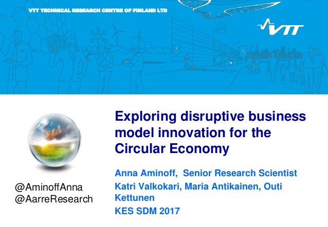 VTT TECHNICAL RESEARCH CENTRE OF FINLAND LTD Exploring disruptive business model innovation for the Circular Economy Anna ...