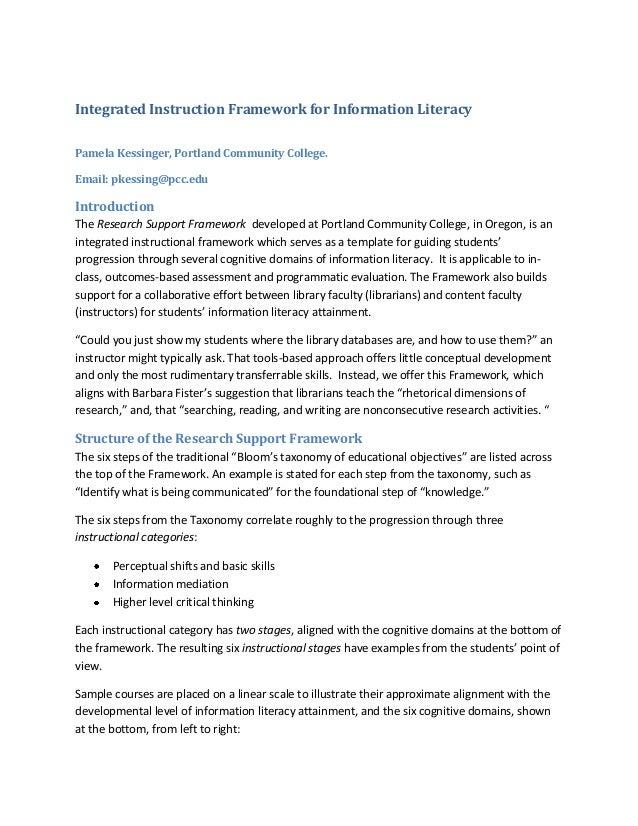 Integrated Instruction Framework for Information LiteracyPamela Kessinger, Portland Community College.Email: pkessing@pcc....