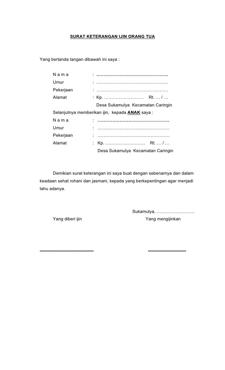 Contoh Surat Ijin Orang Tua Melamar Kerja