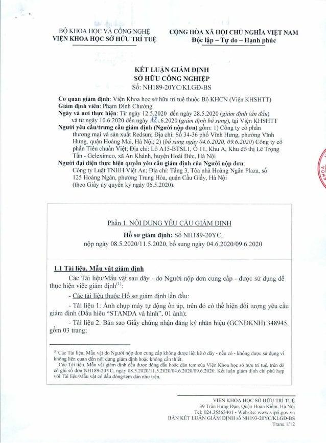 Kết luận giám định dấu hiệu STANDA gắn trên máy tự động ổn áp của Công ty Cp Standa Việt Nam là xâm phạm đến nhãn hiệu đã ...
