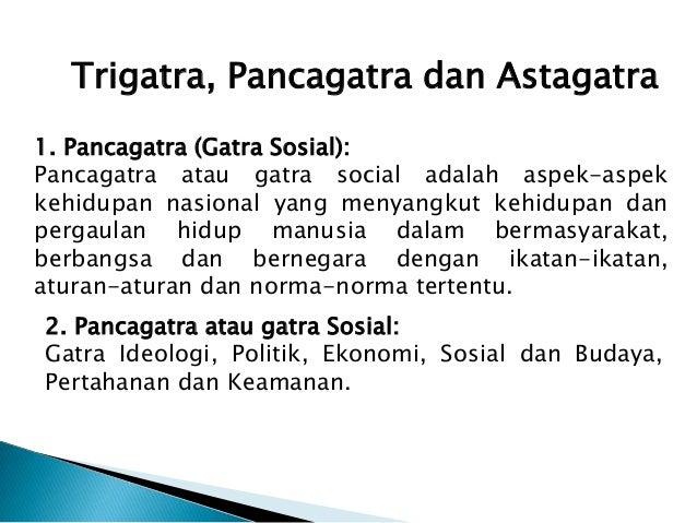 Trigatra, Pancagatra dan Astagatra1. Pancagatra (Gatra Sosial):Pancagatra atau gatra social adalah aspek-aspekkehidupan na...