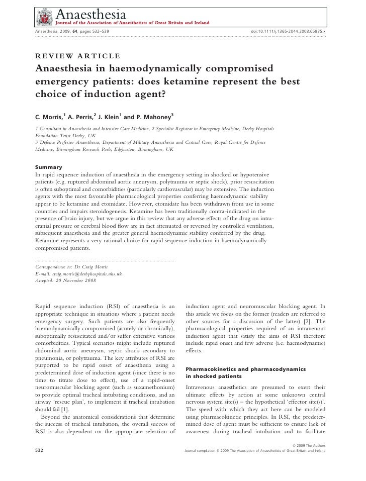 Anaesthesia, 2009, 64, pages 532–539                                                                                      ...