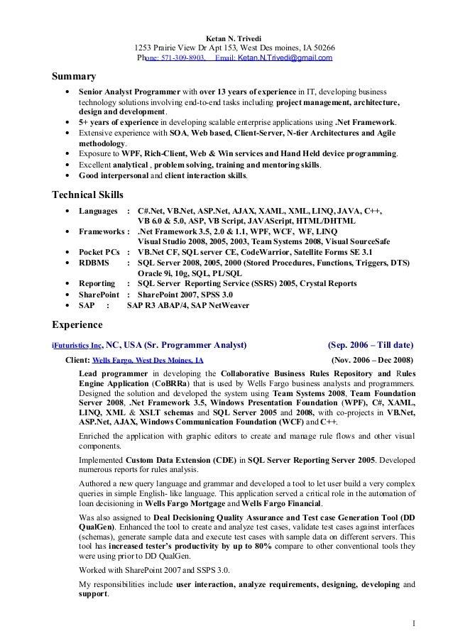 Ketan N. Trivedi 1253 Prairie View Dr Apt 153, West Des moines, IA 50266 Phone: 571-309-8903, Email: Ketan.N.Trivedi@gmail...
