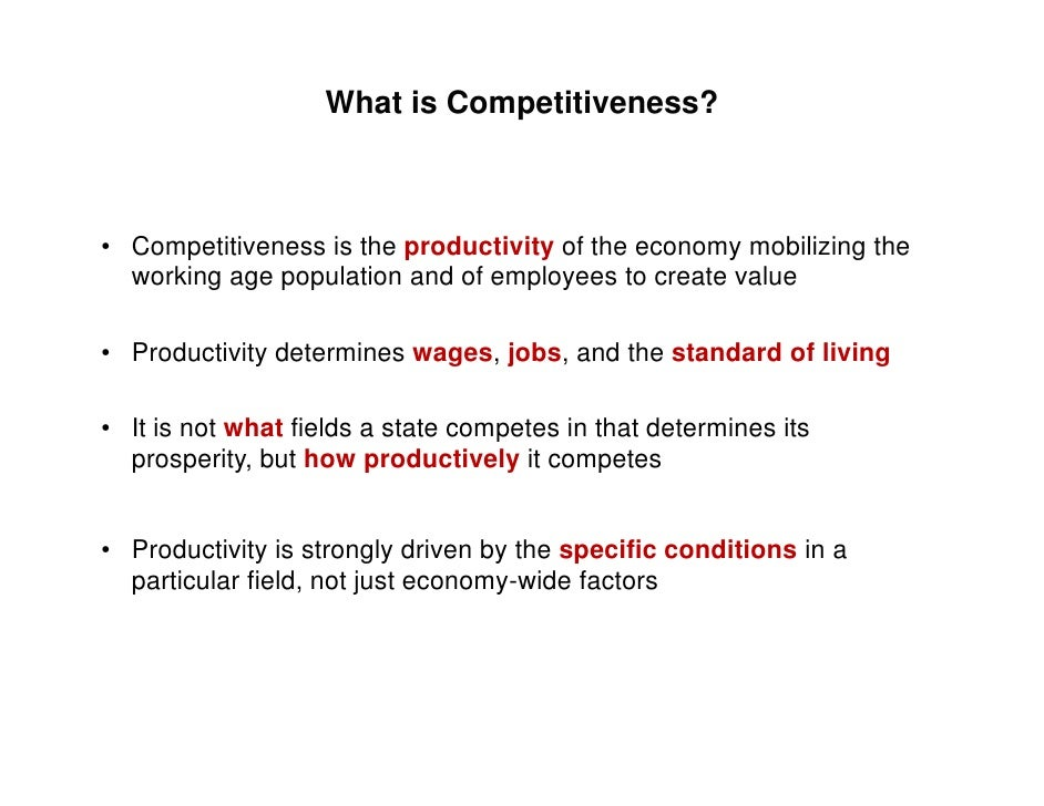 what does ''competitiveness'' mean at the Competitive definition: 1 involving competition: 2 wanting very much to win or be  more successful than other people: 3 competitive prices, services, etc are as.