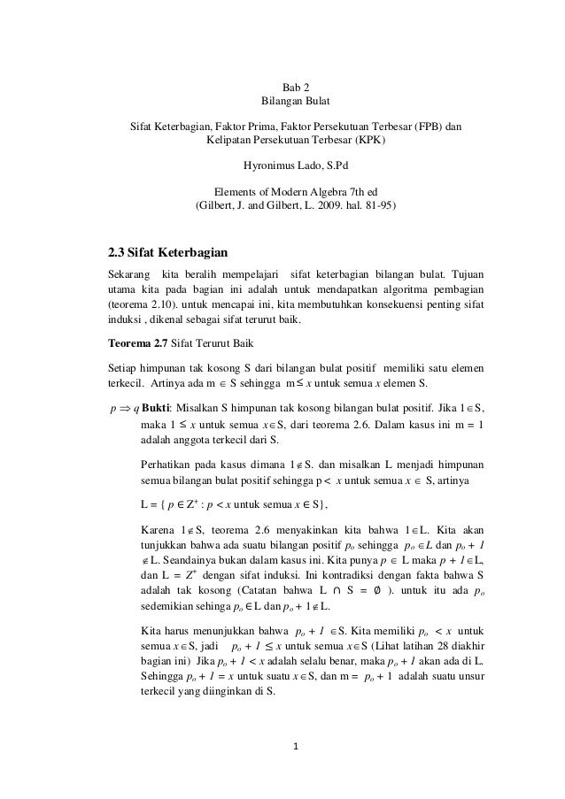 1 Bab 2 Bilangan Bulat Sifat Keterbagian, Faktor Prima, Faktor Persekutuan Terbesar (FPB) dan Kelipatan Persekutuan Terbes...