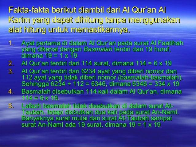 Fakta-fakta berikut diambil dari Al Qur'an AlFakta-fakta berikut diambil dari Al Qur'an Al Karim yang dapat dihitung tanpa...