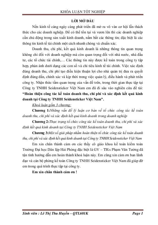 KHÓA LUẬN TỐT NGHIỆP Sinh viên : Lê Thị Thu Huyền – QTL601K Page 1 LỜI MỞ ĐẦU Nền kinh tế càng ngày càng phát triển đã mở ...